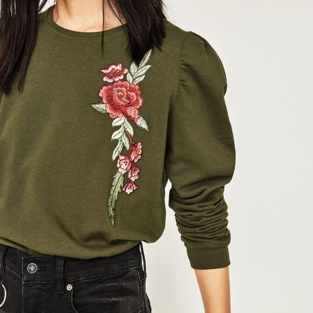 [PRICE REDUCED] ZARA Floral Embroidered Sweatshirt