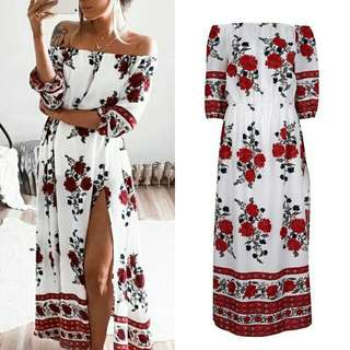 Off Shoulder Bohemian Maxi Dress