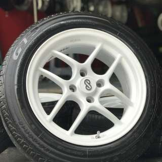 Enkei cps 15 inch sports rim honda jazz tyre 70% . Main guli tepi padang, brother inj rim you pakai confirm orang pandang!!!