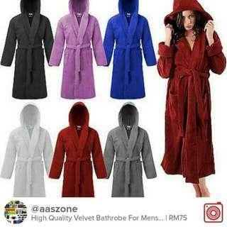 Soft comfortable bathrobe velour