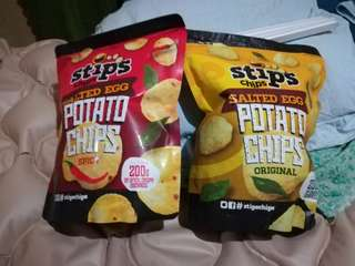Stip's Chips Salted Egg Potato Chips 200g, Spicy and Original Flavor