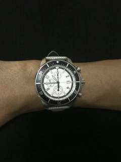 Nautica unisex watch. Silver leather band.