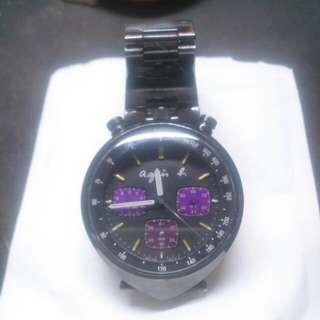 Agnes b 黑鋼手錶(v655-7017aq)