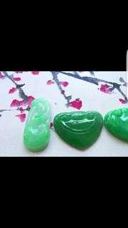 一手3个,完美老坑冰种阳绿如意吊坠,如意头一手3个,尺寸23.3