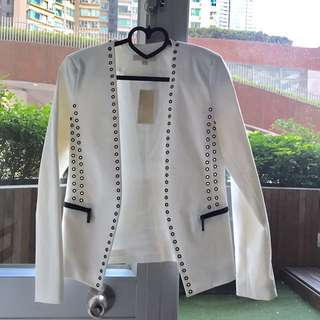 全新 Michael Kors white smart blazer work cool jacket eyelet