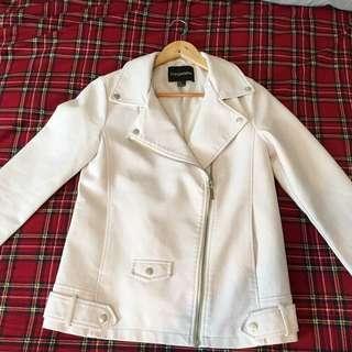 Oversized white leather jacket