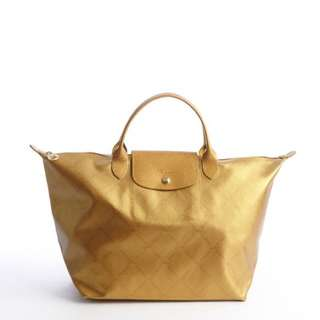 "Original Long Champ ""LePilage"" Gold Short Handle Large Tote"