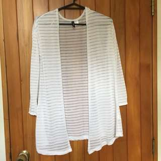White striped long cardigan