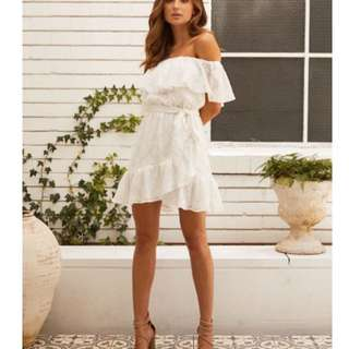 White off the shoulder wrap rodeo show dress