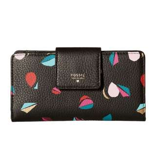 FS017*FOSSIL TAB CLUTCH WALLET (BLACK MULTI)
