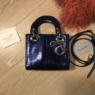 Mini lady Dior lizard blue electric