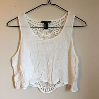 Forever 21 White Lace Tank Top