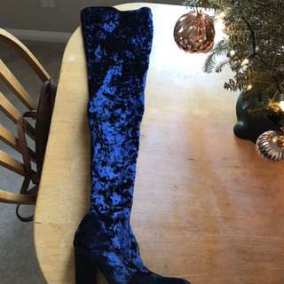 Thigh high suede heeled boot in royal blue