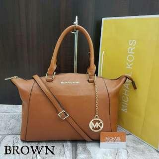 Michael Kors Riley Medium Satchel Bag Brown Color