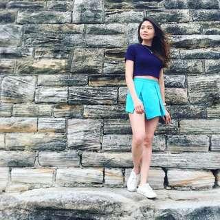 Turquoise Origami Skirt