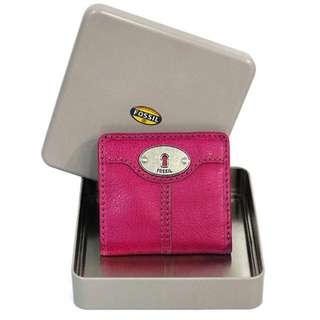FS024*FOSSIL MARLOW LEATHER BIFOLD SHORT PURSE (DEEP PINK)