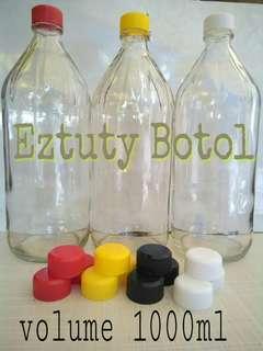 Botol kaca 1000ml lengkap dengan tutup baru