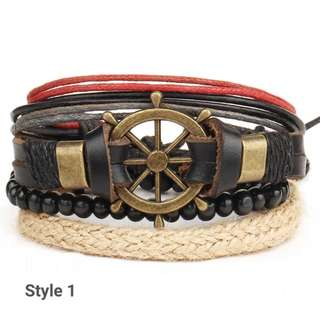 *New*  4 layered Leather and beads bracelet for Men & Woman