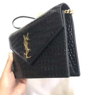 Saint laurent monogram envelope chain wallet with black croc embossed leather