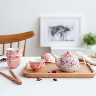 AURAHOUSE 日式櫻花茶具組 全新 一組茶壺+5杯