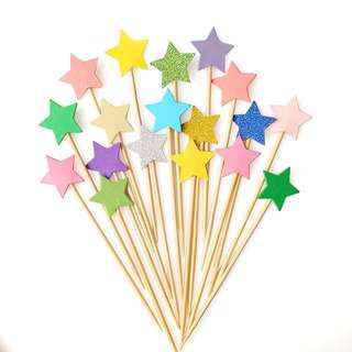 GLITTER STAR CUPCAKE TOPPERS - 10PCS