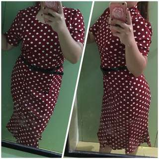 POLKA DOTS DRESS WITH BELT best for NEW YEAR!!