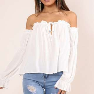 Off shoulder white top