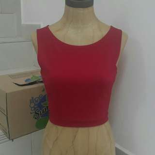 #Swap Red Cutout Crop Top