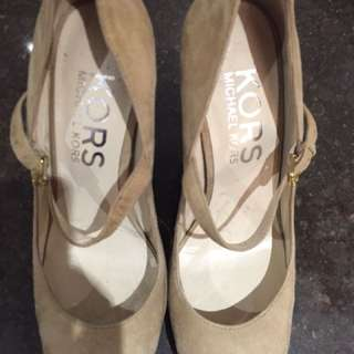 Michael Kors nude suede heels size 7 worn once retail for $300