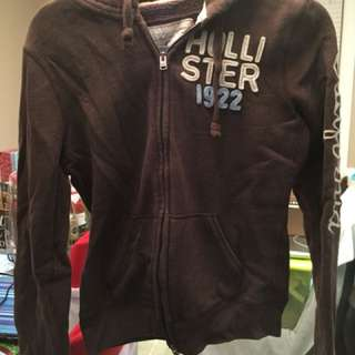 Hollister Brown zip up hoodie sweater size large