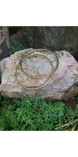 Gold Hoops earrings with embossed like design