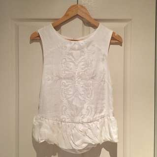 Three of Something- White embroidered cami. Size 10.