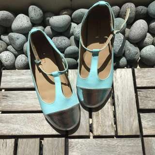 Gingersnaps Girls Shoes (Blue with silver toe)