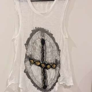 'Sass & Bide' White Singlet with Beaded Cross Embroidery