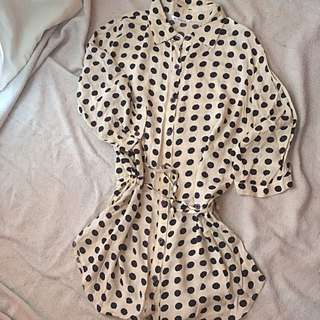 Pre-loved Polkadot Long Blouse, M