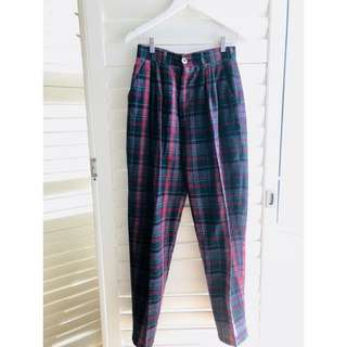 VINTAGE 80s handmade tailored plaid wool trousers pants