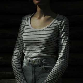 Country road striped long sleeve shirt