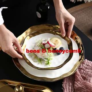 Goyure White Gold Rough Ceramic Dinner Plate