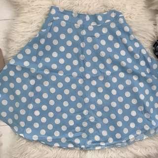 [BN] Blue Polka Dots Skirt