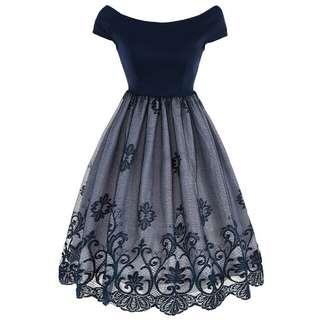 Dress Patchwork Renda Gaya Vintage Model Fit and Flare