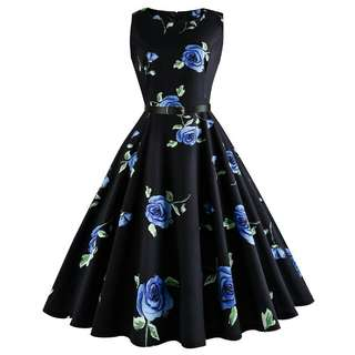 Dress Midi Tanpa Lengan Motif Print Floral Gaya Retro