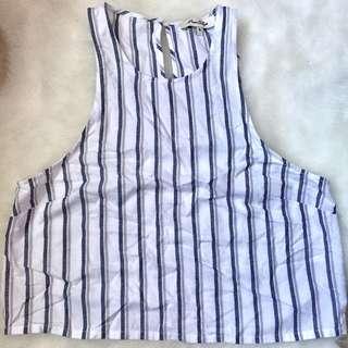 🎀 Miss Shop Stripe Linen Crop Top