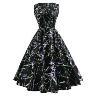 Dress Midi Motif Print Floral Gaya Vintage dengan Rok Flare+Sabuk untuk Wanita