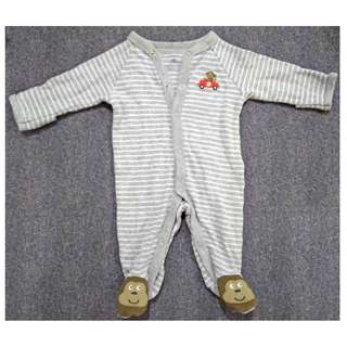 CARTER'S LONG SLEEVES ROMPER WITH CUTE MONKEY FOOTIE FOR NEWBORN