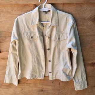 NAFNAF Cream Semi Copped Denim Jacket