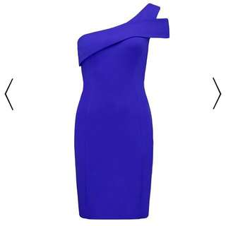 🎀 Forever New Sapphire Blue One Shoulder Bodycon Dress size 6