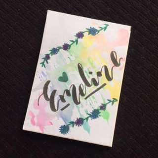Personalized and Customized Watercolour Calligraphy Notebooks great as Christmas and Birthday gifts or presents
