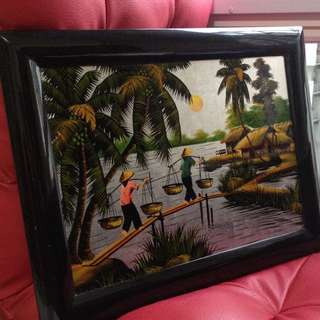 Shiny village painting bought in Vietnam
