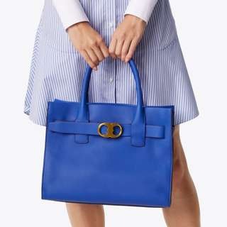 Tory Burch Gemini-Link Pebbled Leather Tote Bag