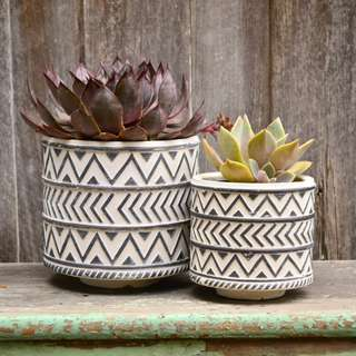 White and Charcoal Aztec Patterned Plant Pots Planter